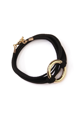 S4-4-4-AYB2193GDBK GOLD BLACK BRACELET WRAP AROUND SUEDE BRACELET/6PCS