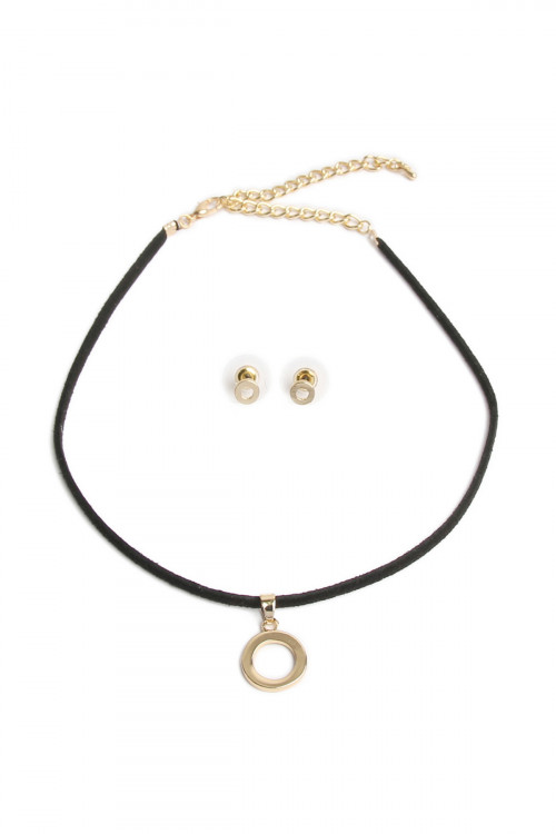 A1-2-4-AYS2161GDBK GOLD BLACK OPEN CIRCLE PENDANT CHOCKER NECKLACE & EARRING SET/6SETS
