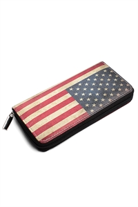 S5-4-2-AYW019 FASHION AMERICAN FLAG PRINT WALLET/6PCS
