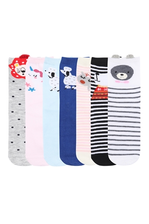 S21-5-3-Z-73202- ASSORTED CUTE PRINTED  ANIMALS WOMEN SOCKS/12PAIRS