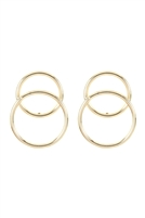 S22-4-3-ZEA675GD - TWO OPEN RING OVER-WRAP EARRINGS - GOLD/6PCS