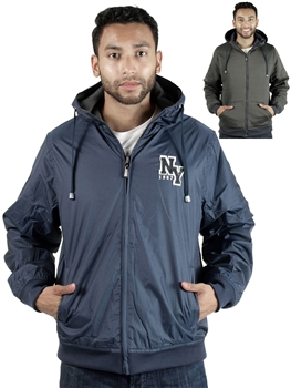 1834N-3JA2238-Navy- Men's Reversible Zip-Up Hooded Jacket/ 1-2-2-1