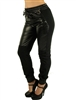 1899N-FT-42-Black- Ladies Vegan Leather Two-Tone Jogger Pants w/ Zip-Up Side Pockets by Special One/ 1-2-2-1