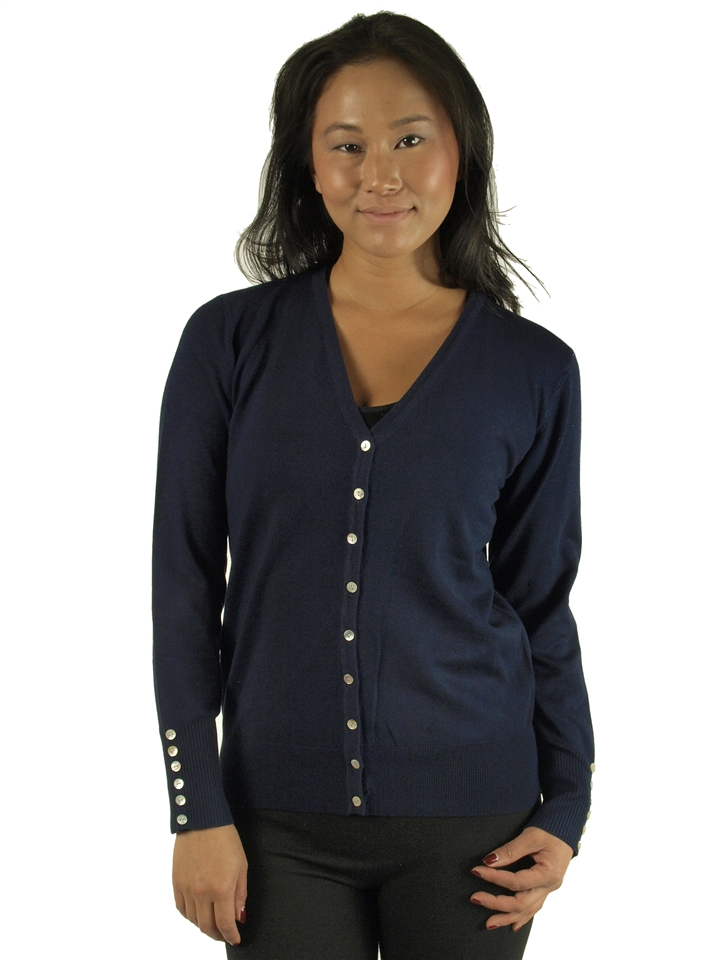 6a5a8f82851 1905N-SW205-Navy- Ladies V-Neck Button Down Cardigan w/ Side Sleeve  Buttons/ 2-2-2