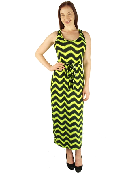 1938N- DR007X- Neon Green Print - Plus Size Maxi Racerback Dress with  Tie/2-2-2