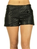 1945N-74628-Black-PU Quilted Shorts w/ Front & Back Zipper Pockets/ 1-1-2-3-3-2-2-1
