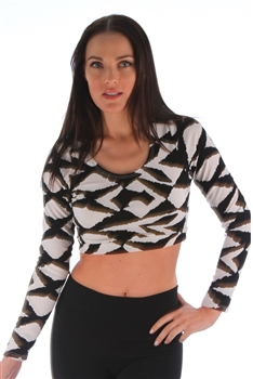 1965N-TK2828-2-1-Long Sleeve Texture Fabric Crop Top/ 1-2-2-1