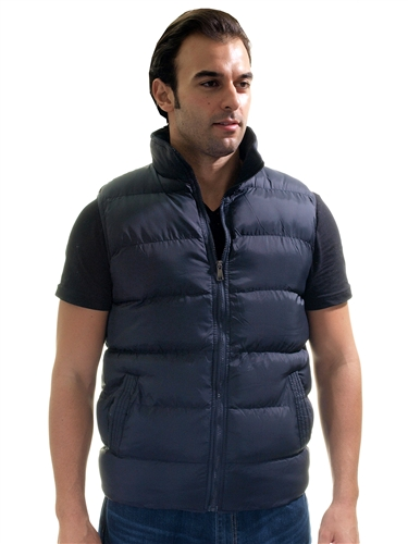 1970N-QRR150035-Black- Men's Quilted Padded Vest with Checkered Linings/ 1-2-2-1