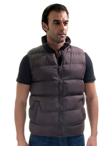 1970N-QRR150035-Chocolate- Men's Quilted Padded Vest with Checkered Linings/ 1-2-2-1