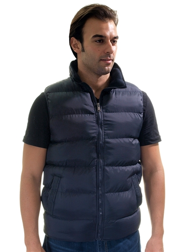 1970N-QRR150035- Navy- Men's Quilted Padded Vest with Checkered Linings/ 1-2-2-1