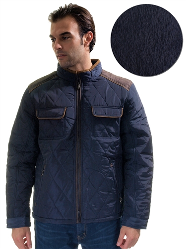 1970N-QRR150036-Navy- Men's Quilted Fur LinedJacket/ 1-2-2-1