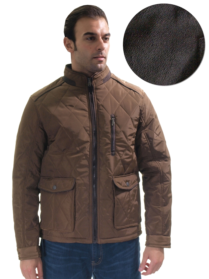 a778aee32a2a 1970N-QRR150039-Camel- Men s Quilted Fur Lined Zip Up Jacket w  Suede View  Larger Photo ...