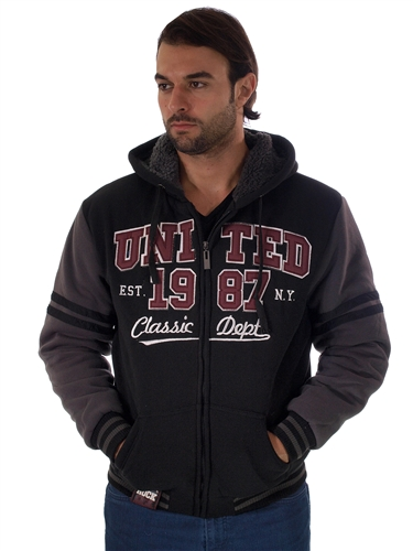 1970N-RR150002-BLK-D.MELANGE- Men's Fur-Lined Applique Zip-Up Hoodie/ 1-2-2-1