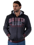1970N-RR150013-BLACK- Men's Fur-Lined Applique Zip-Up Hoodie/ 1-2-2-1