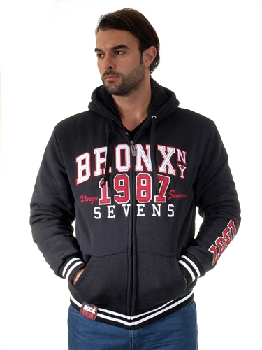 1970N-RR150013-BLK-RED- Men's Fur-Lined Applique Zip-Up Hoodie/ 1-2-2-1