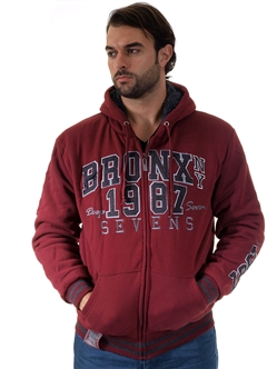 1970N-RR150013-WINE- Men's Fur-Lined Applique Zip-Up Hoodie/ 1-2-2-1