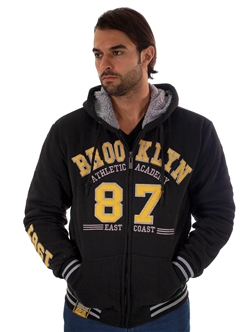 1970N-RR150017-BLACK- Men's Fur-Lined Applique Zip-Up Hoodie/ 1-2-2-1