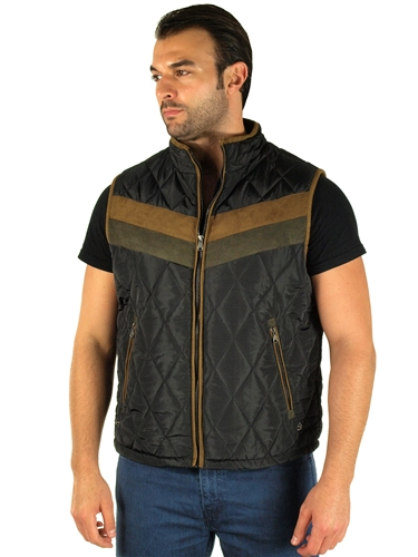 1970N-RR150020- Black - Men's Quilted Fur LinedVest  / 1-2-2-1