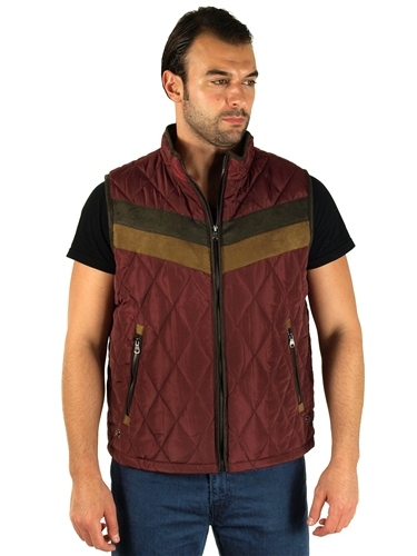 1970N-RR150020- Wine - Men's Quilted Fur LinedVest  / 1-2-2-1