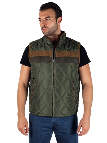 1970N-RR150021- Olive- Men's Quilted Fur LinedVest  / 1-2-2-1
