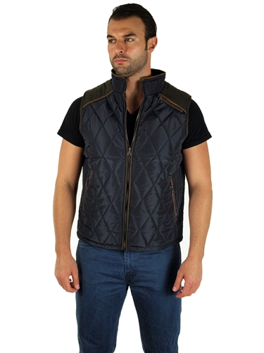 1970N-RR150022- Navy- Men's Quilted Fur LinedVest  / 1-2-2-1