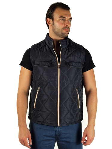 1970N-RR150030-Black- Men's Quilted Fur LinedVest/ 1-2-2-1