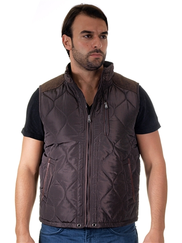 1970N-RR150032- Chocolate- Men's Quilted Fur LinedVest  / 1-2-2-1