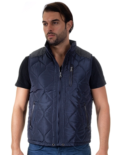 1970N-RR150032- Navy- Men's Quilted Fur LinedVest  / 1-2-2-1