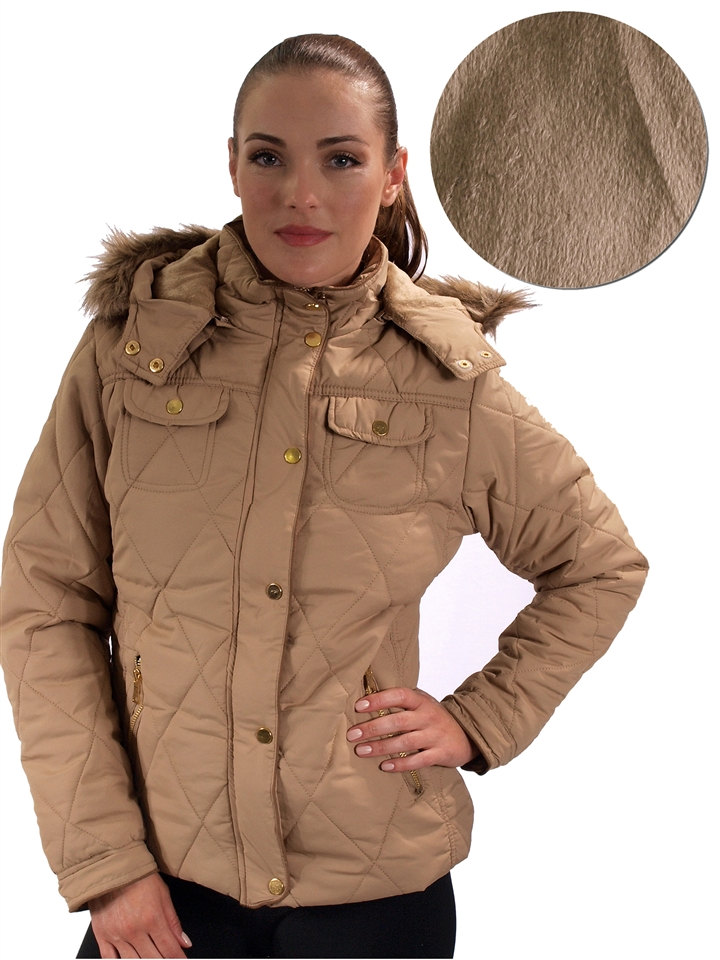 popular brand usa cheap sale good 1970N-SPE150015-Camel- Ladies Waterproof Quilted fur lined Anorak Jacket  with suede piping, detachable hood & Faux fur trim by Special One/1-2-2-1