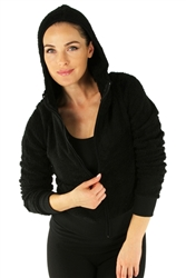 1981N- 8051 - Black -Hooded Jacket with Zipper/2-2-2