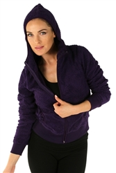 1981N- 8051 - Grape - Ladies Hooded Jacket with Zipper/2-2-2