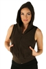 1981N- 8052 - Brown -Hooded Vest with Zipper/2-2-2