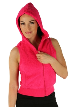 1981N- 8052 - Fuchsia -Hooded Vest with Zipper/2-2-2