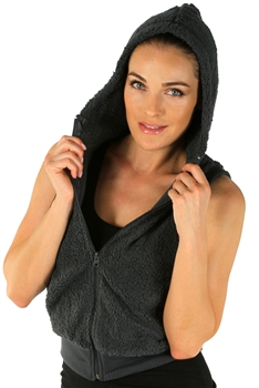 1981N- 8052 - Grey -Hooded Vest with Zipper/2-2-2