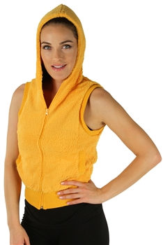 1981N- 8052 - Mustard -Hooded Vest with Zipper/2-2-2