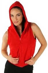 1981N- 8052 - Red -Hooded Vest with Zipper/2-2-2