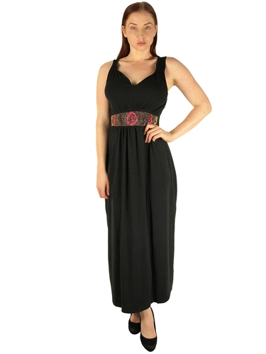 1984N - 20354XX - Black - Super Plus SizeMaxi Dress with Beaded Waist/2-2-2