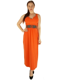 1984N - 20354XX - Orange - Super Plus SizeMaxi Dress with Beaded Waist/2-2-2