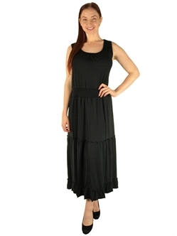 1984N - 20445XX - Black - Super Plus SizeSleeveless Tiered Skirt Maxi Dress/2-2-2