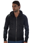 2002N-DEC102-Black-Men's Zip-Up Hoodie w/ PU Detailing On Sleeve And Shoulder / 1-2-3-2-1