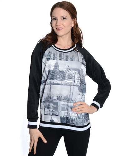 2030N-70437-Black-Girls Scuba Printed Sweatshirt/ 7/8-10/12-14/16