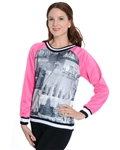 2030N-70437-Pink-Girls Scuba Printed Sweatshirt/ 7/8-10/12-14/16