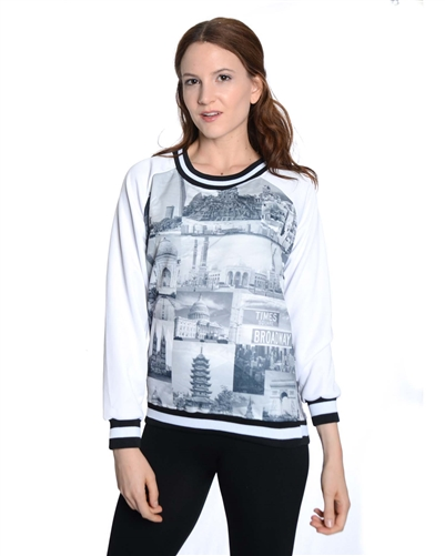 2030N-70437-White-Girls Scuba Printed Sweatshirt/ 7/8-10/12-14/16