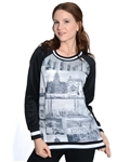2030N-70437R-Black-Ladies Scuba Printed Sweatshirt/ 1-2-2-1