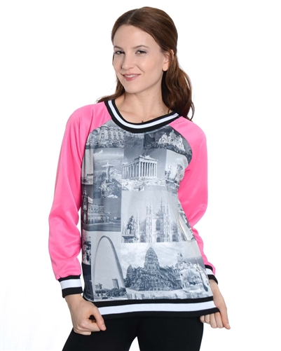 2030N-70437R-Pink-Ladies Scuba Printed Sweatshirt/ 1-2-2-1