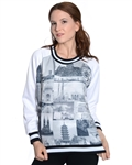 2030N-70437R-White-Ladies Scuba Printed Sweatshirt/ 1-2-2-1