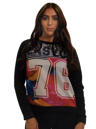 2030N-70440R-Black-Ladies Scuba Printed Sweatshirt/ 1-2-2-1