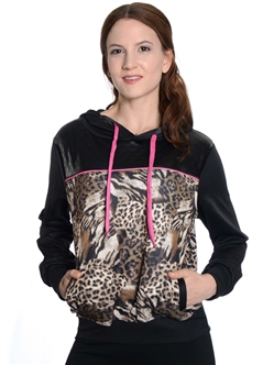 2030N-70494XR-Ladies Plus Size Pull Over Scuba, Quilted, Animal Print, Hoodie / 1-2-2-1