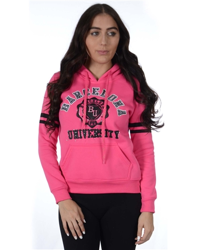 2030N-FH-92-Fuchsia-Fleece Double Hood Sweatshirt/ 1-2-2-1