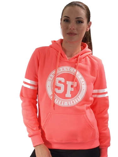 2030N-FH-95-Neon Coral-Fleece Double Hood Sweatshirt/ 1-2-2-1